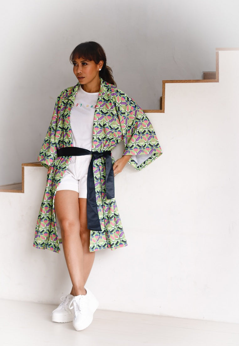 Fancy Pattern Light Coat - Multicolor