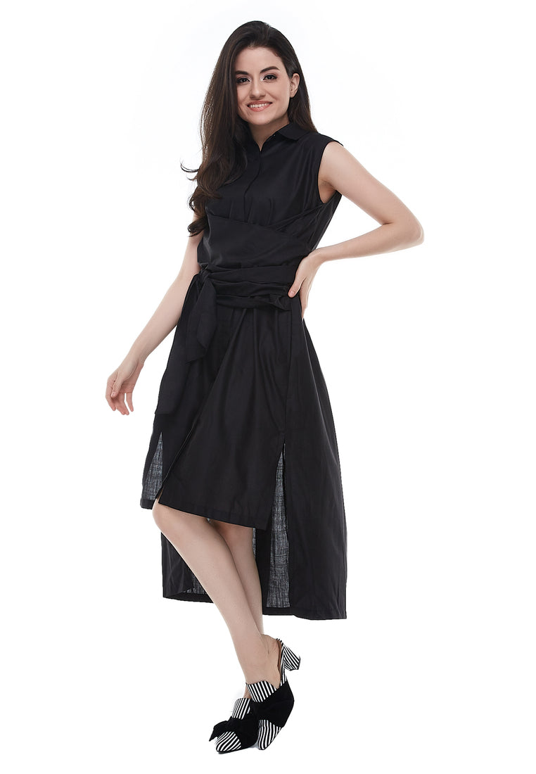 Sleeveless Mid-Length Dress With Tie-Up Belt - Black