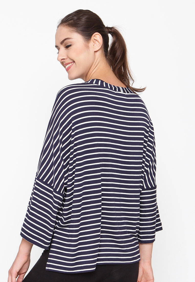Casual Sport Blouse  - Stripe Black & White