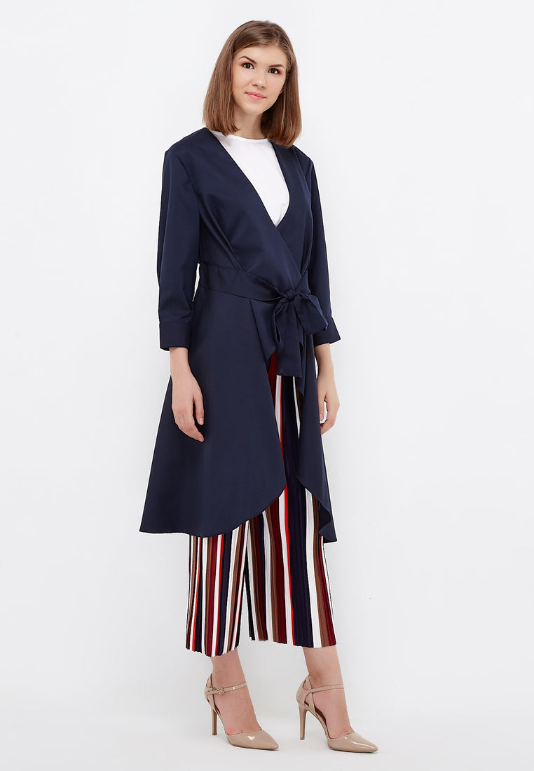 Tie Up Cardigan Blouse - Navy