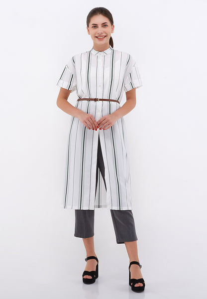 Front Slit Outer Blouse - Green Stripe