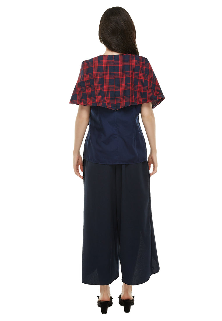 Three Ways Blouse - Red Plaid & Navy