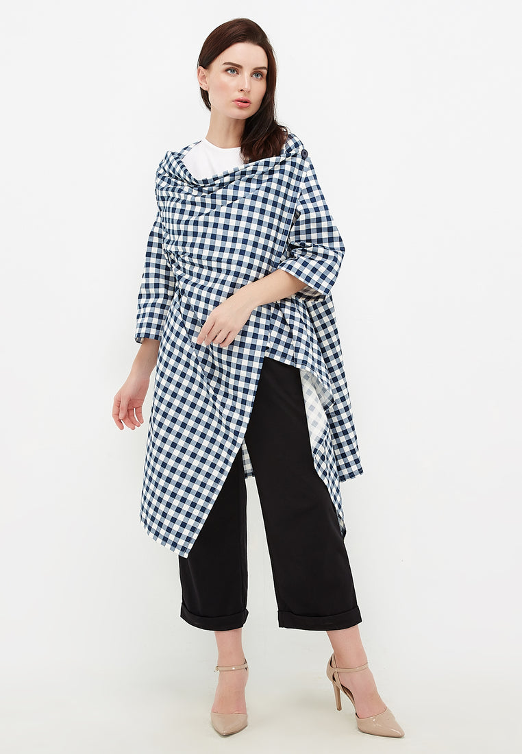 Plaid Oversized Outer - Blue