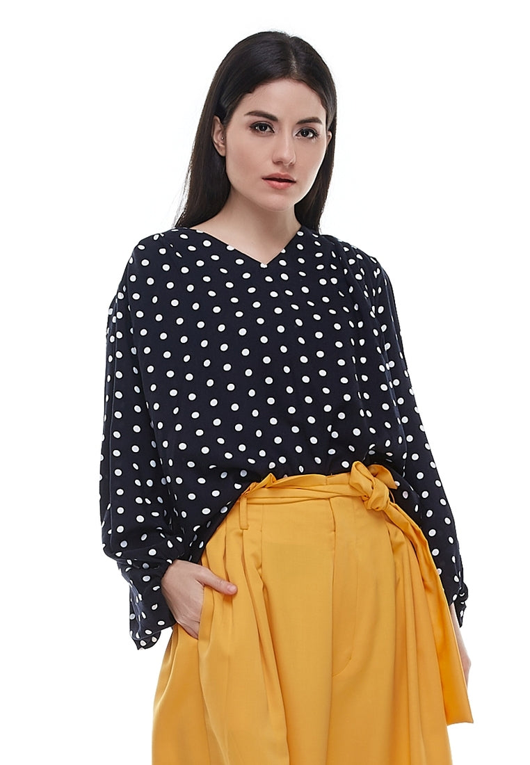 Polkadot Loose Sleeves Blouse - Black