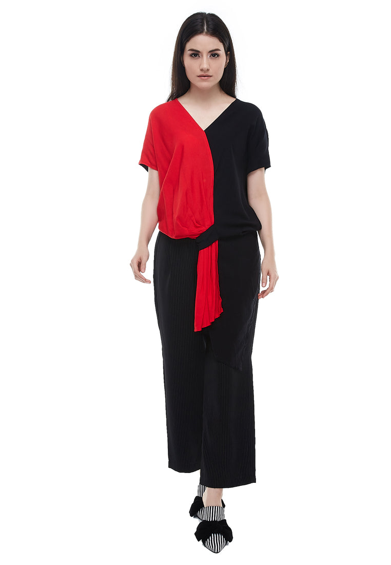 Two Color Rample Blouse - Black & Red