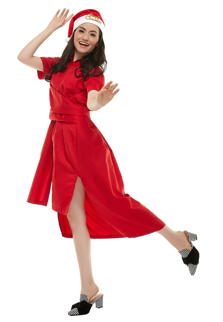 Mid-Length Dress With Tie-Up Belt - Red
