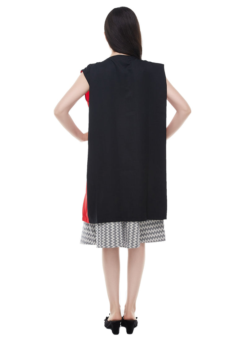Two Tone Sleeveles Long Vest - Red
