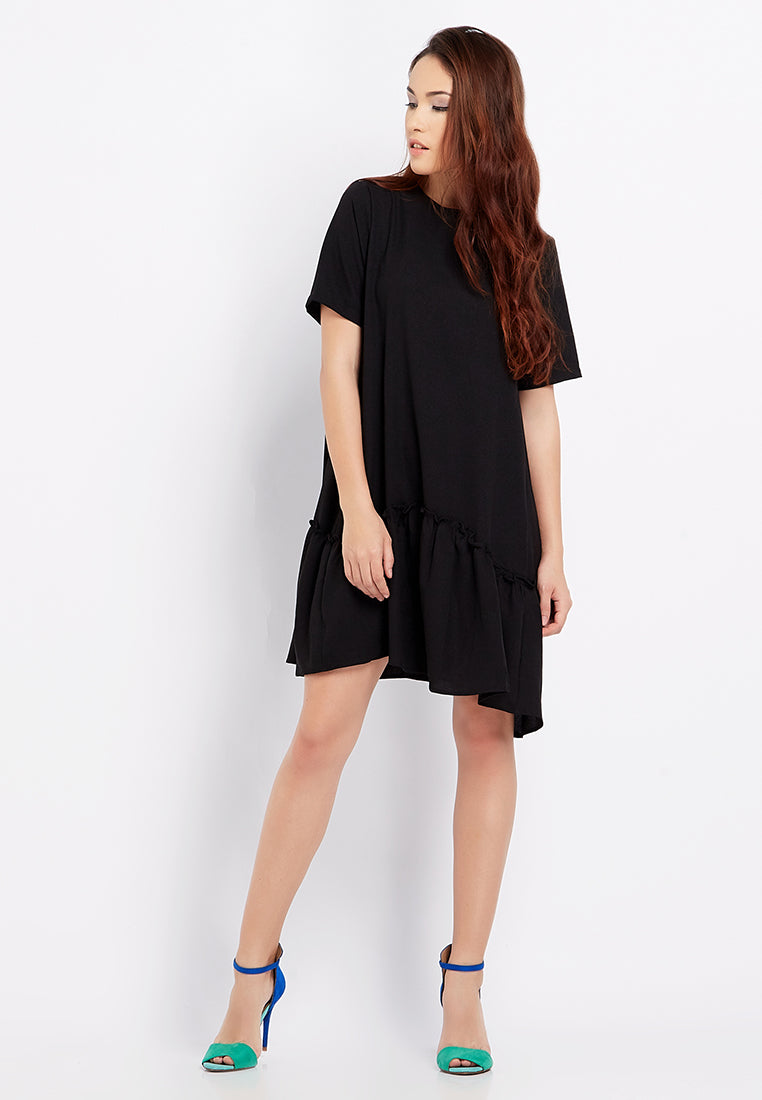 Ruffle Midi Dress - Black