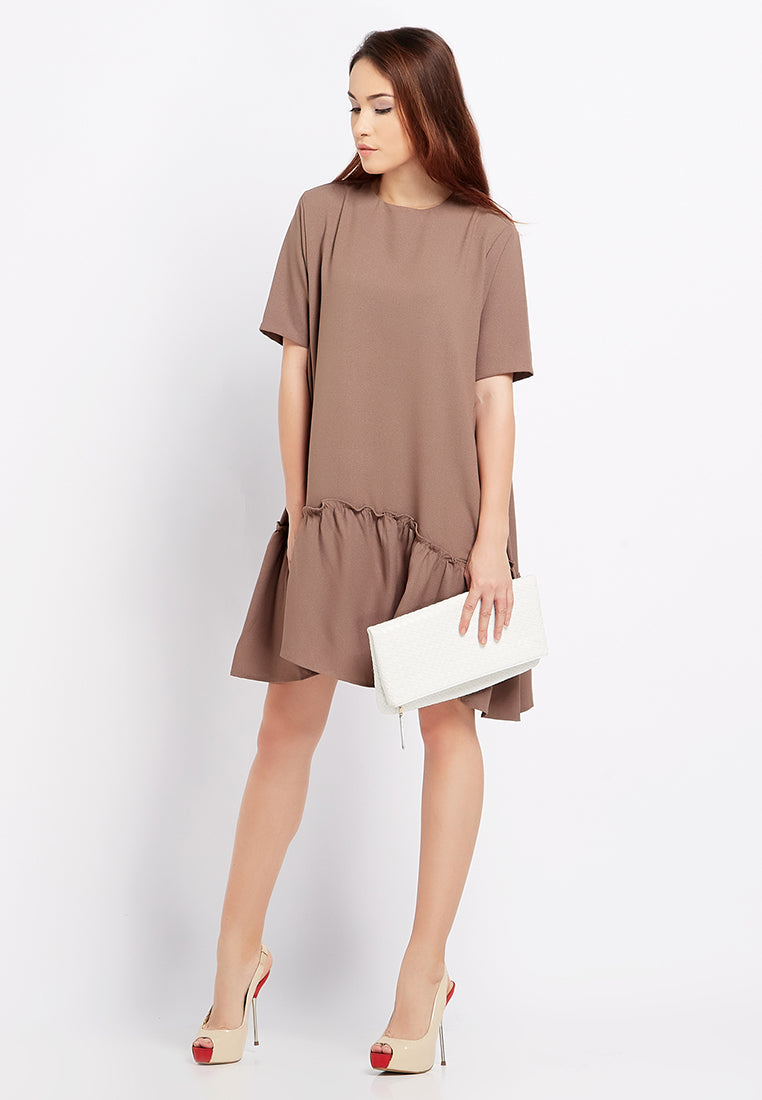 Ruffle Midi Dress - Brown