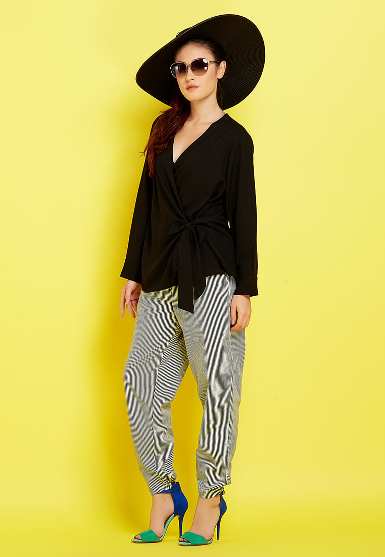 Tie-Up Cardigan Black