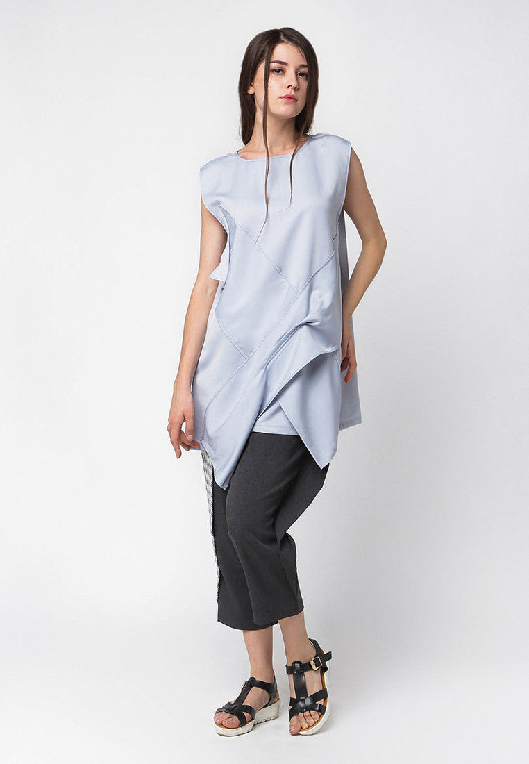 Front Detail Blouse - Grey