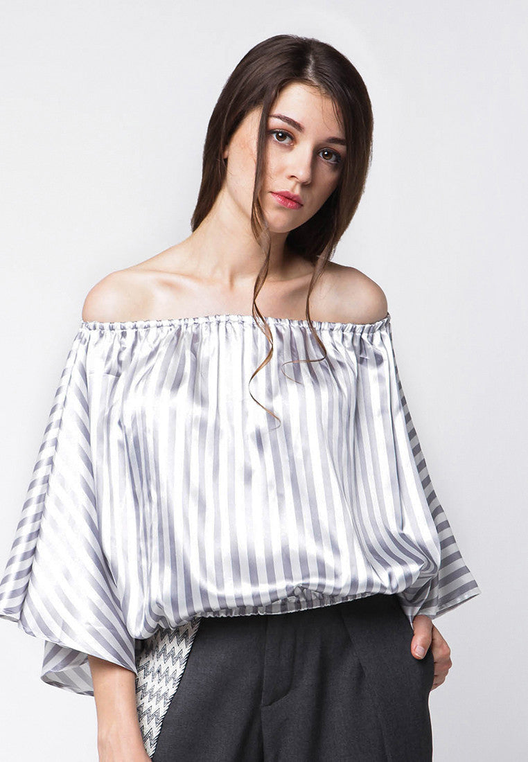 Up Side Down Stripe Sabrina Outer - Grey