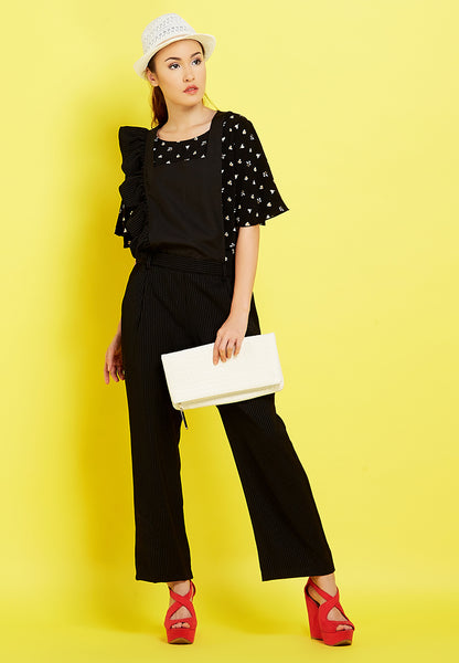 Ruffle Sleeves Jumpsuit - Black