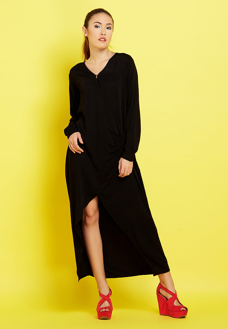 Outer - Wrap Dress Black