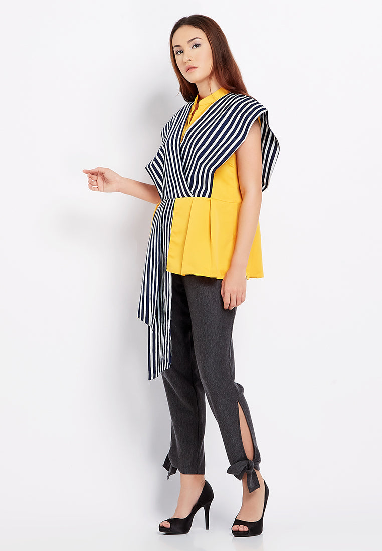 Two Tone Goddess Blouse - Yellow & Lurik Navy