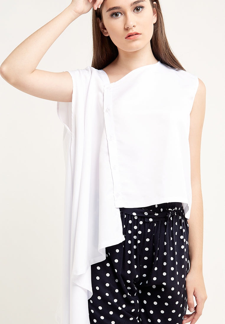 One Side Drapes Blouse - White