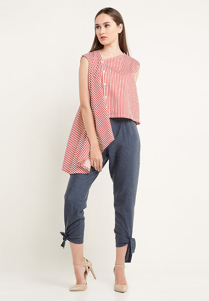 One Side Big Stripe Drapes Blouse - Red & White