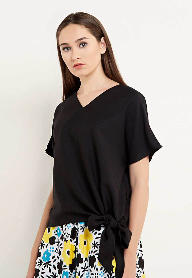 V-Neck Tied Up Blouse - Black