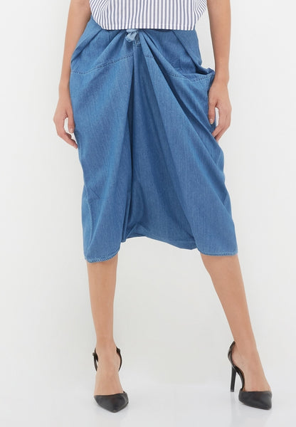 Denim Knot Pants - Blue