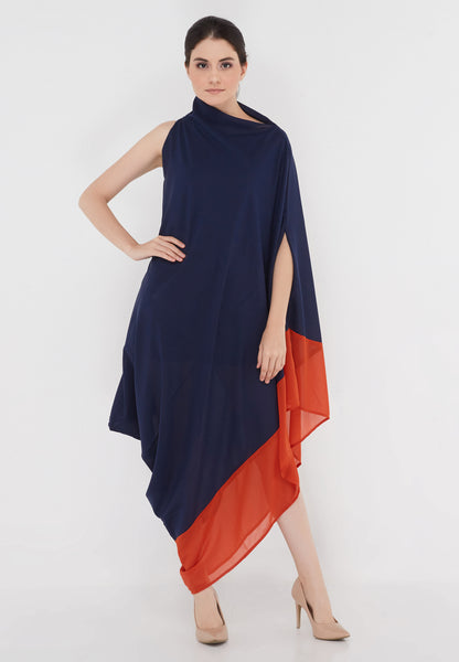 Two Tone Goddess Dress - Navy & Orange