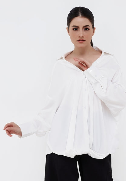 Long Sleeves Drapes Shirt - White