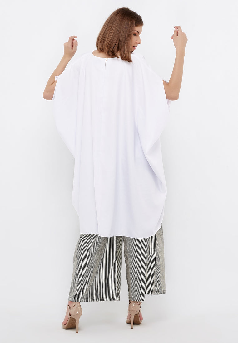High Low Dramatic Blouse - White