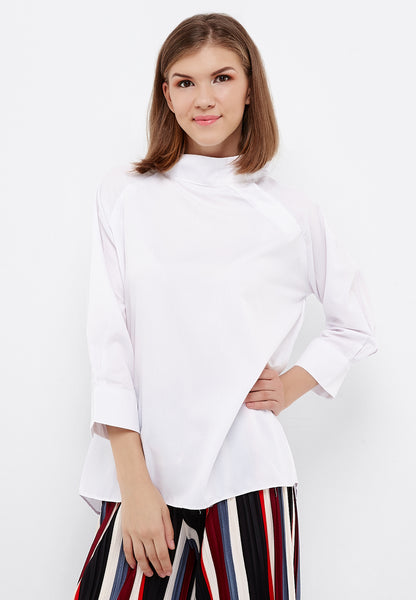 High Collar Button Shirt - White