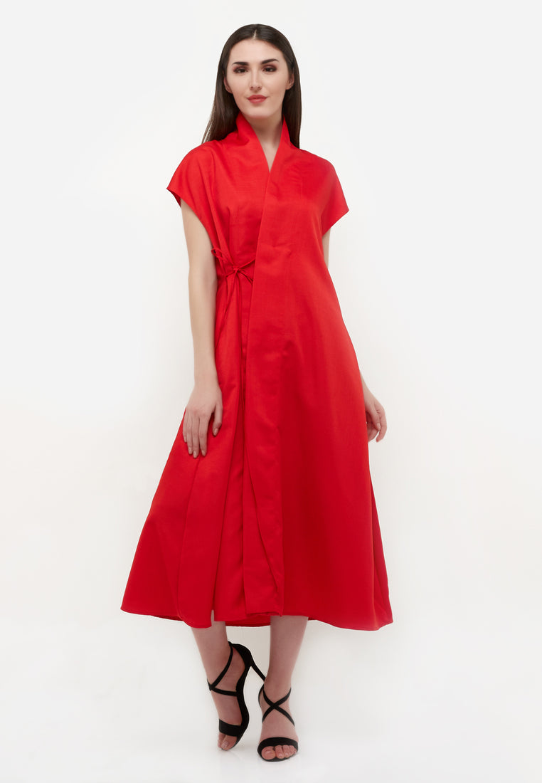 Wrap Outer Dress - Red