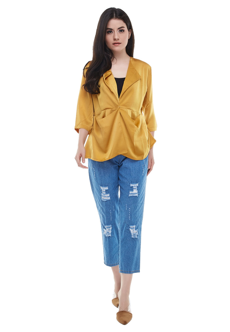 Daily Outerwear With Drapes Pocket - Yellow