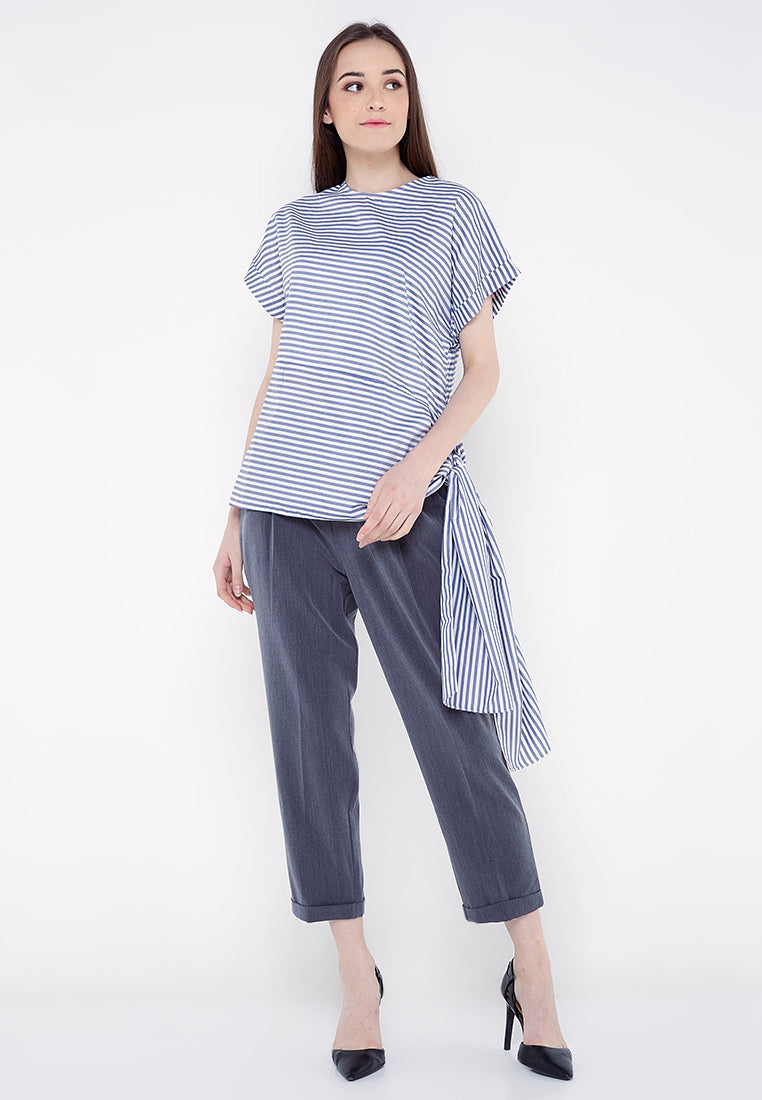Asymmetrical Stripe With Tie-Up Blouse - Blue & White