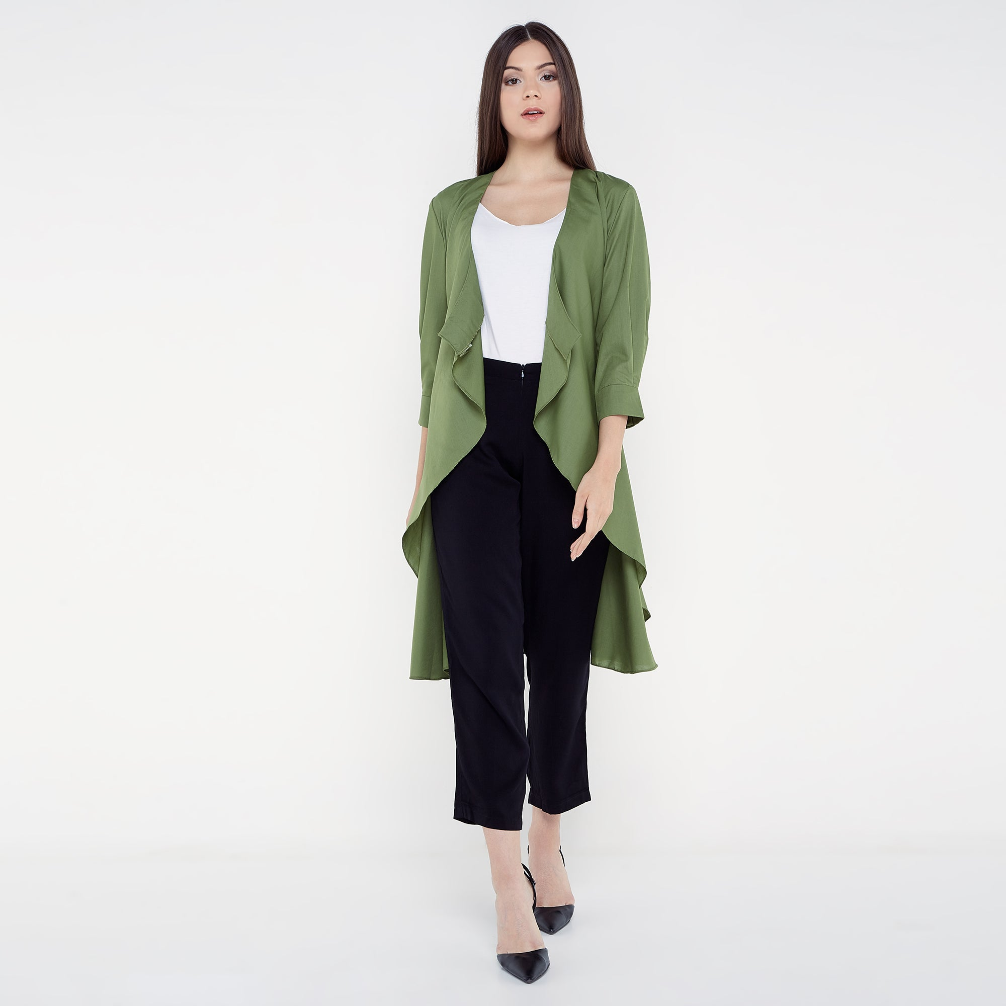 Tie Up Cardigan Blouse - Green