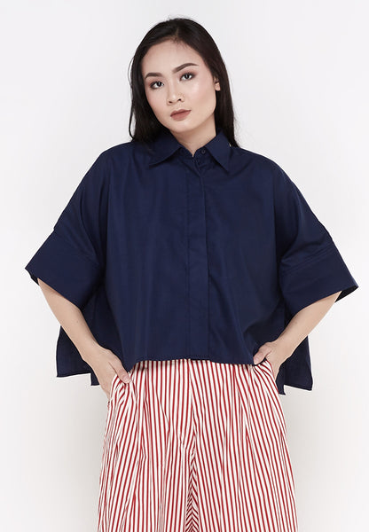 Crop Oversized Shirt - Navy