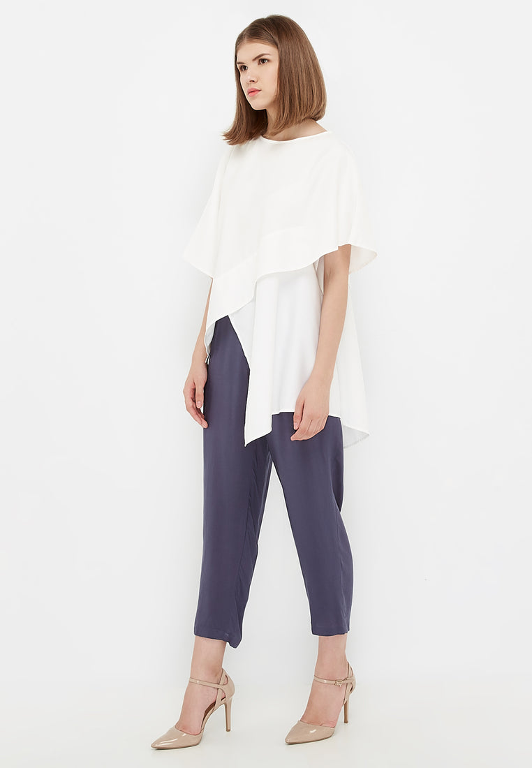 Oversized Drapped Blouse - White
