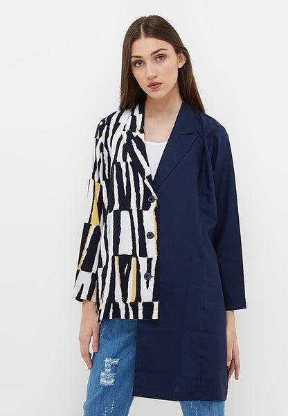 Two Tone Blazer - Navy & Motif Printed