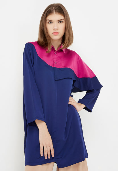 Two Tone Flair Shirt Dress - Navy & Fuchsia