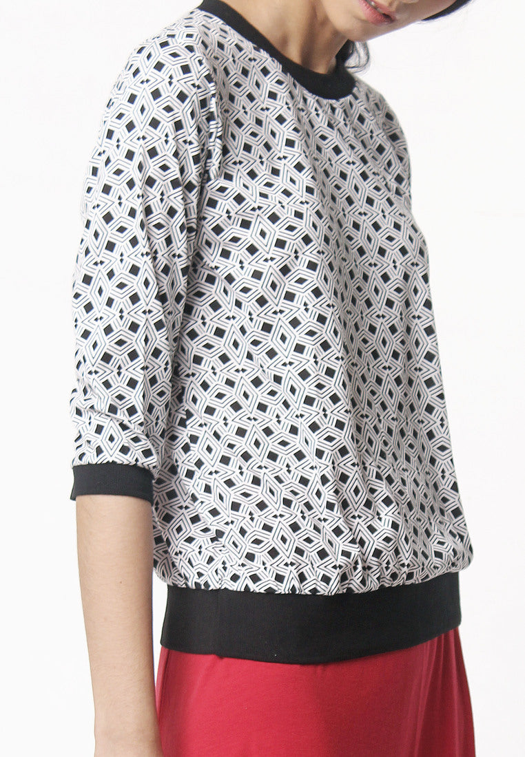Printed Blouse - Black