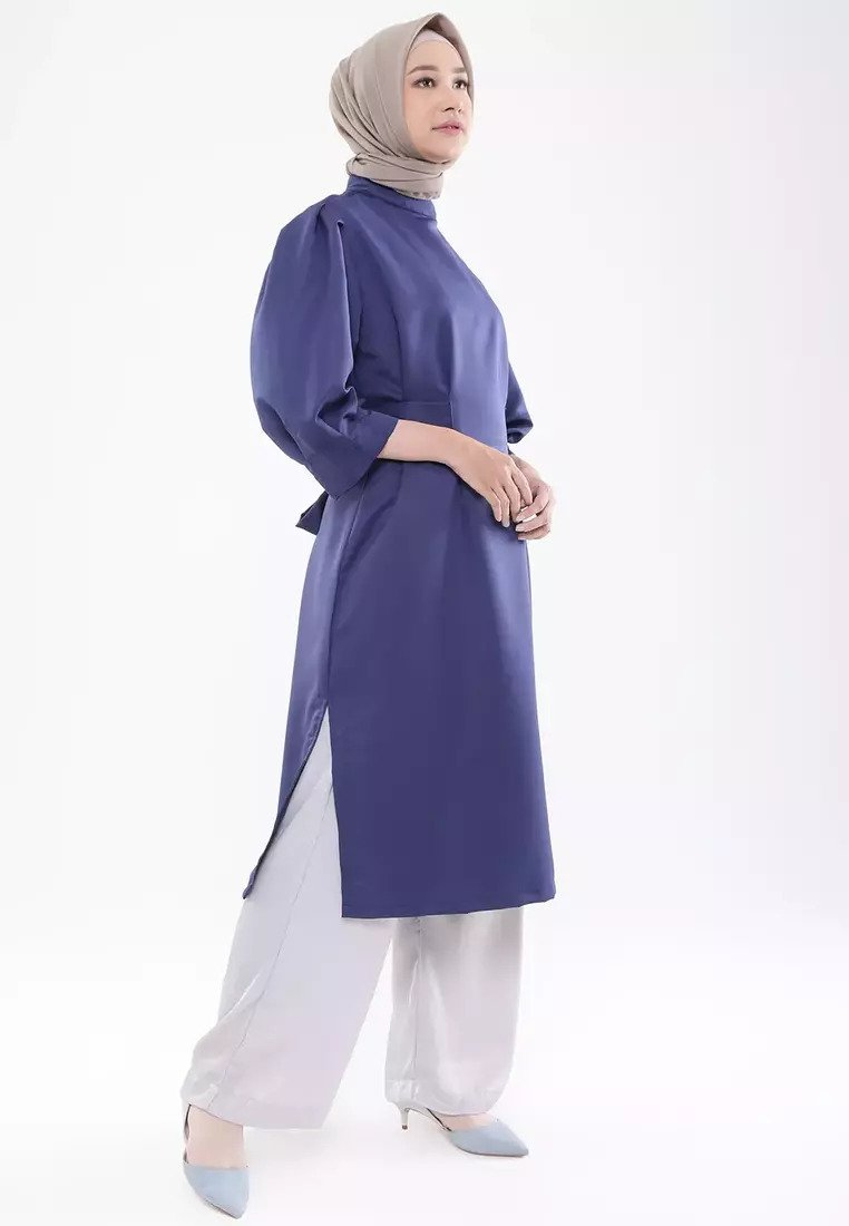 High Neck Midi Tunik - Navy