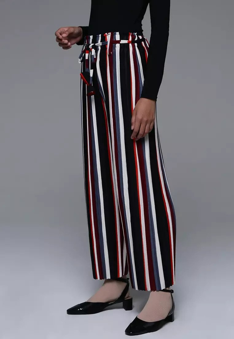 Midi Culottes Pants (Stripe Grey-Black-Maroon-White-Orange)