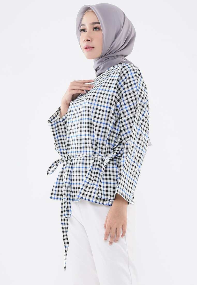Boxy Tie Up Blouse - Plaid Multicolor