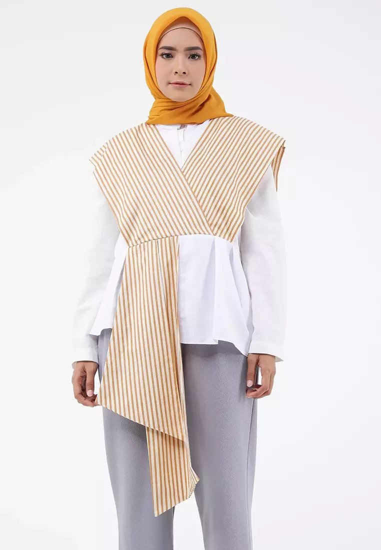 Two Tone Goddess Blouse - Brown & White