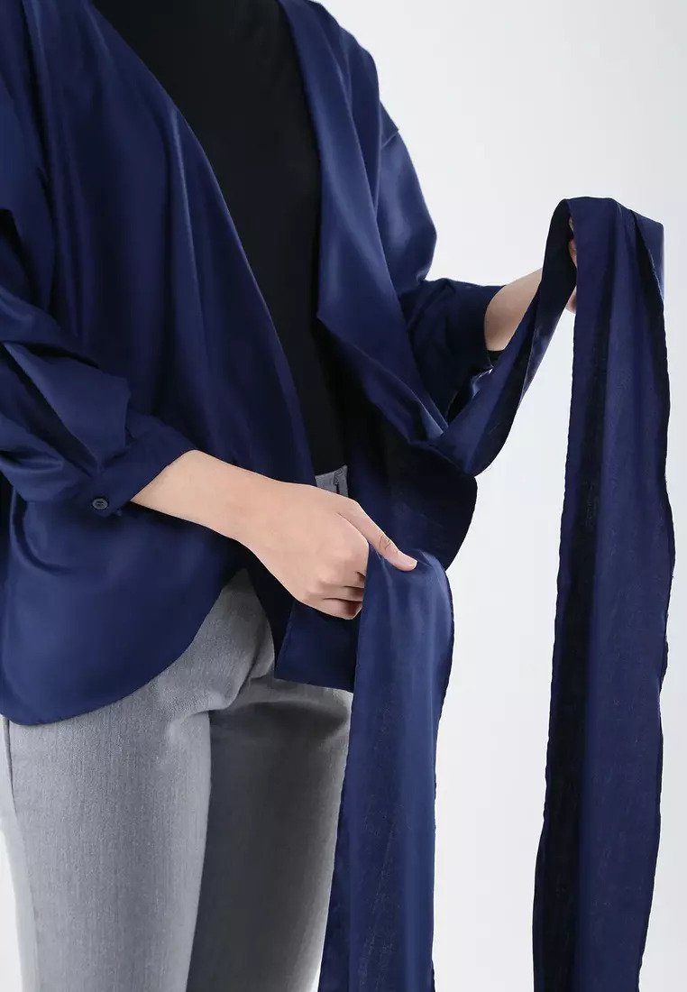 Puffy Wrap Blouse - Navy