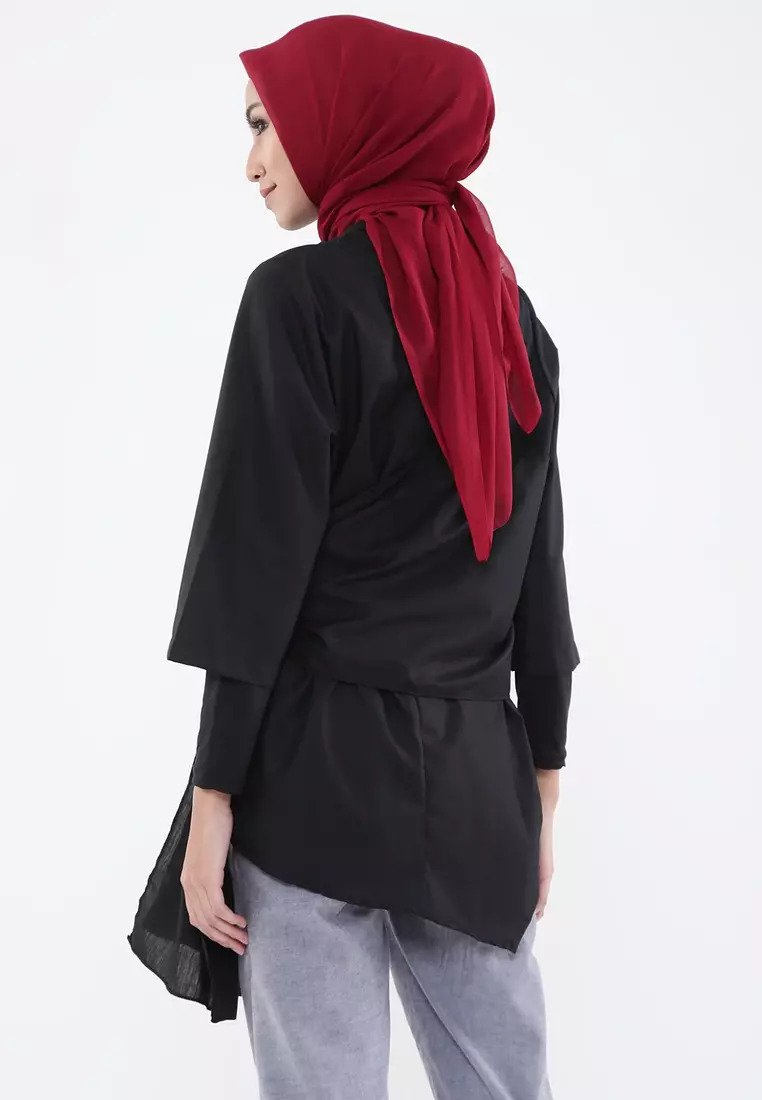Two Ways Wrap Blouse - Black