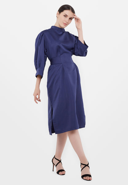 High Neck Midi Dress - Navy