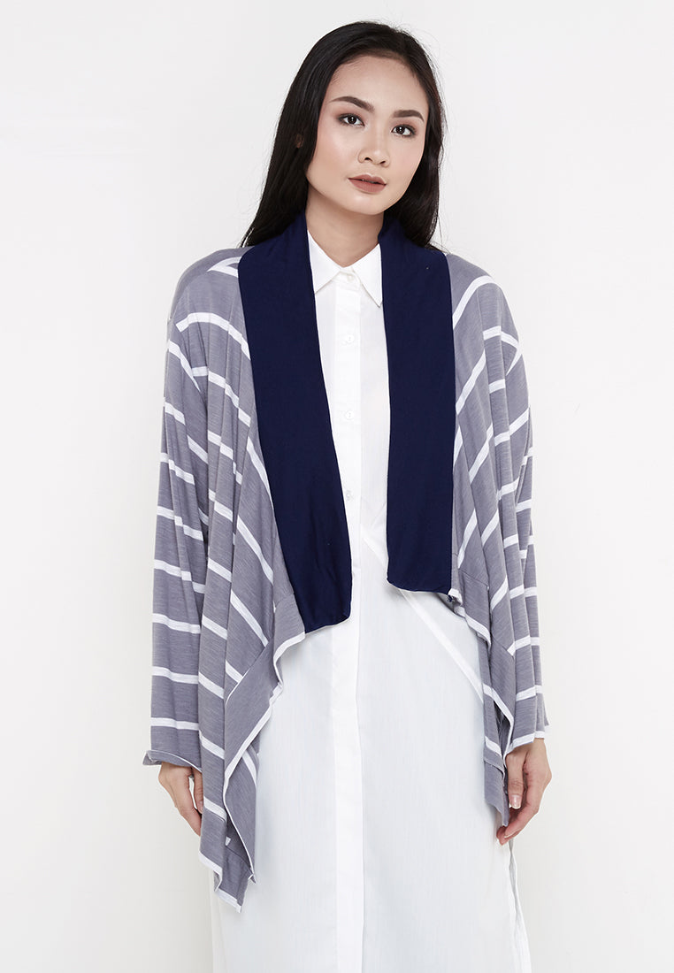 Two Tone Stripe Cardigan - Grey & White