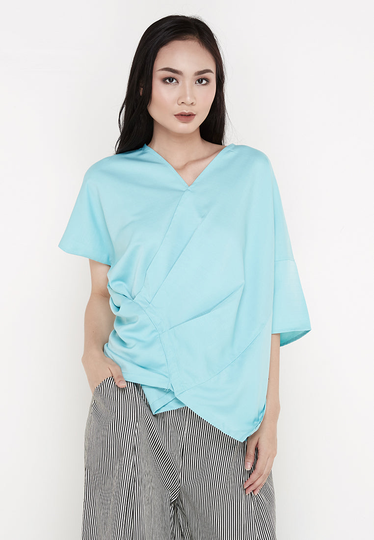 Drappery V-Neck Blouse - Mint