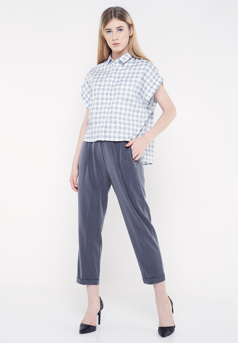 Short Sleeves Plaid Shirt - Grey & White