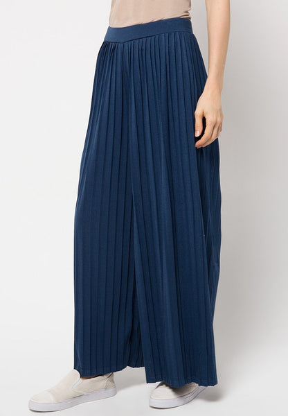 Pleats Culottes Pants - Navy