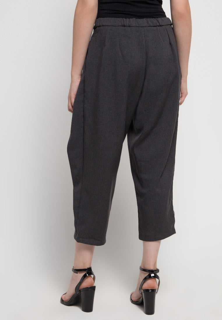 Wide Capri Pants - Grey