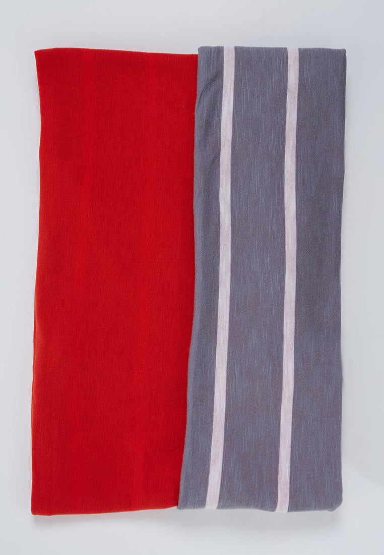 Two Tone Stripe Shawl Grey - Red