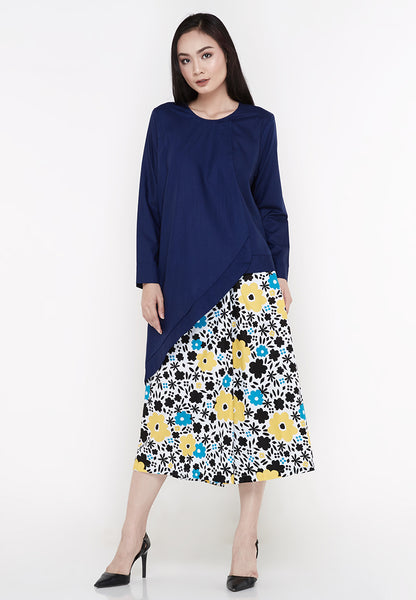 Asymmetrical Tunic Blouse - Deep Navy